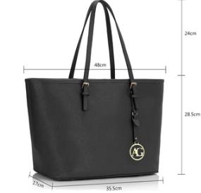 Dimension sac cabas noir femme