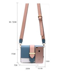 Dimension sac rose et bleu