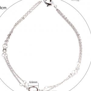 Dimensions bracelet fantaisie double chaine argente image 2019