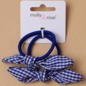 Elastique cheveux avec noeuds en vichy bleu