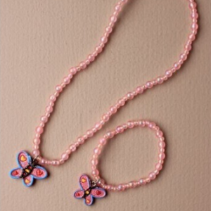Ensemble collier et bracelet rose pendentif papillon