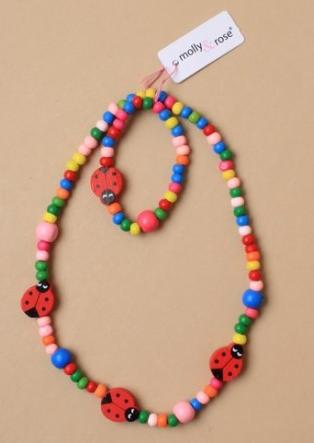 Ensemble collier perles de bois enfants