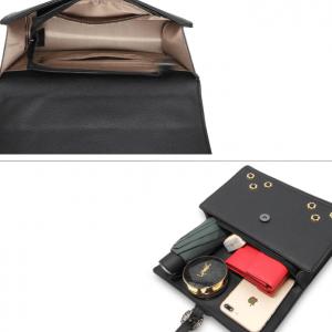 Interieur sac bandouliere noir fermeture a rabat image 2019