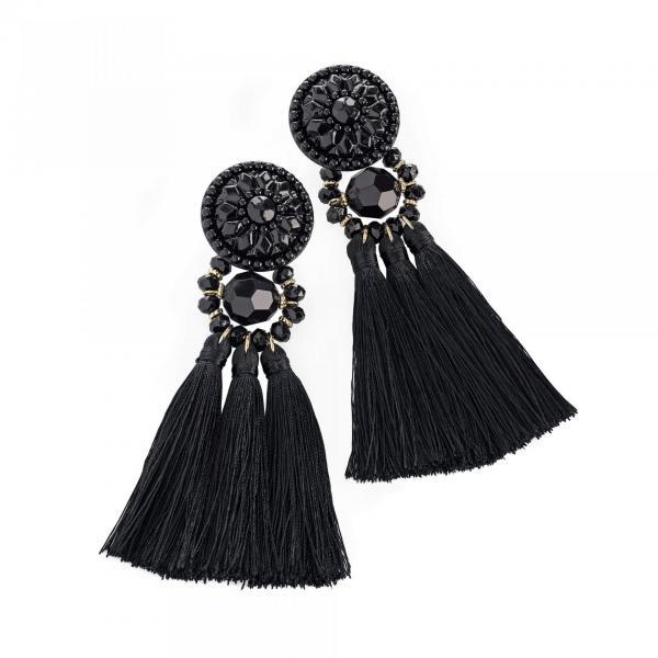 Longue boucle d oreilles a pompon noir image 2019