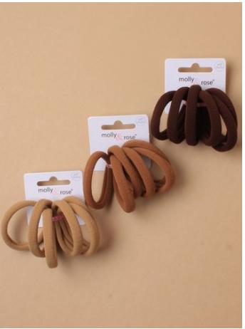 Lot de 6 elastique cheveux sans armature marron