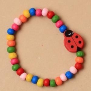 Lot de deux bracelets fille en perles de bois