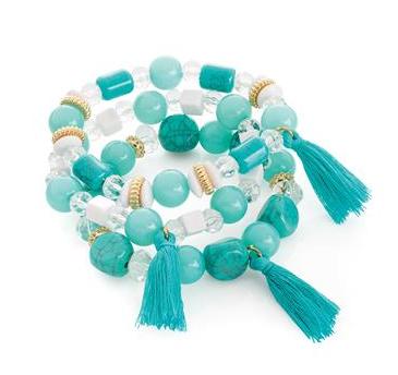 lot de trois bracelets avec pompon bleu