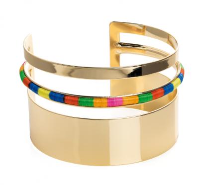 Bracelet manchette fantaisie dorée avec détails multicolore