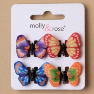 Mini pinces a cheveux enfant papillon multicolores