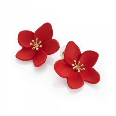 Paire de puces d'oreille en forme de fleur rouge