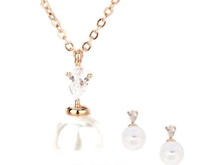 Parure de perles et diamant pour cérémonie