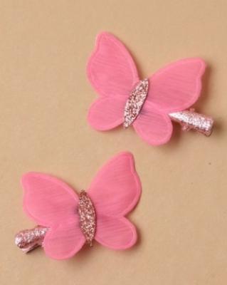 Lot de 2 pince à cheveux à clip avec papillon pailleté rose