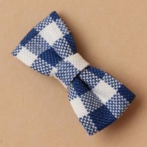 Pince a cheveux tissus a carreaux bleu