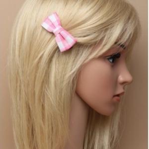 Pince a cheveux tissus a carreaux rose