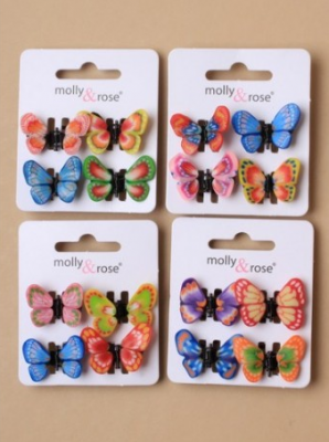 Set de 4 mini pince papillon pour fille