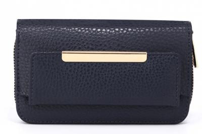 Porte-monnaie bleu marine femme en simili-cuir texturé