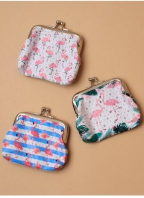 Porte-monnaie avec fermoir rétro flamant rose