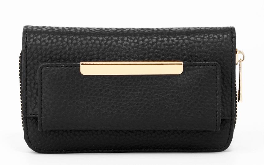 Porte monnaie noir en cuir synthetique image 2019