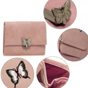 Porte monnaie rose femme motif papillon