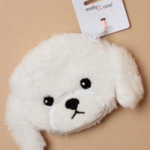 Porte monnaie tete de chien en peluche blanc