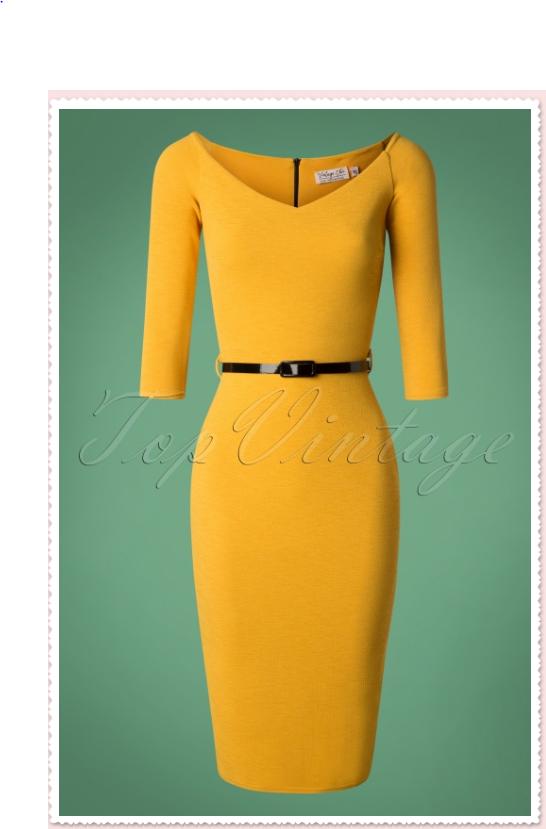 Robe crayon jaune moutarde