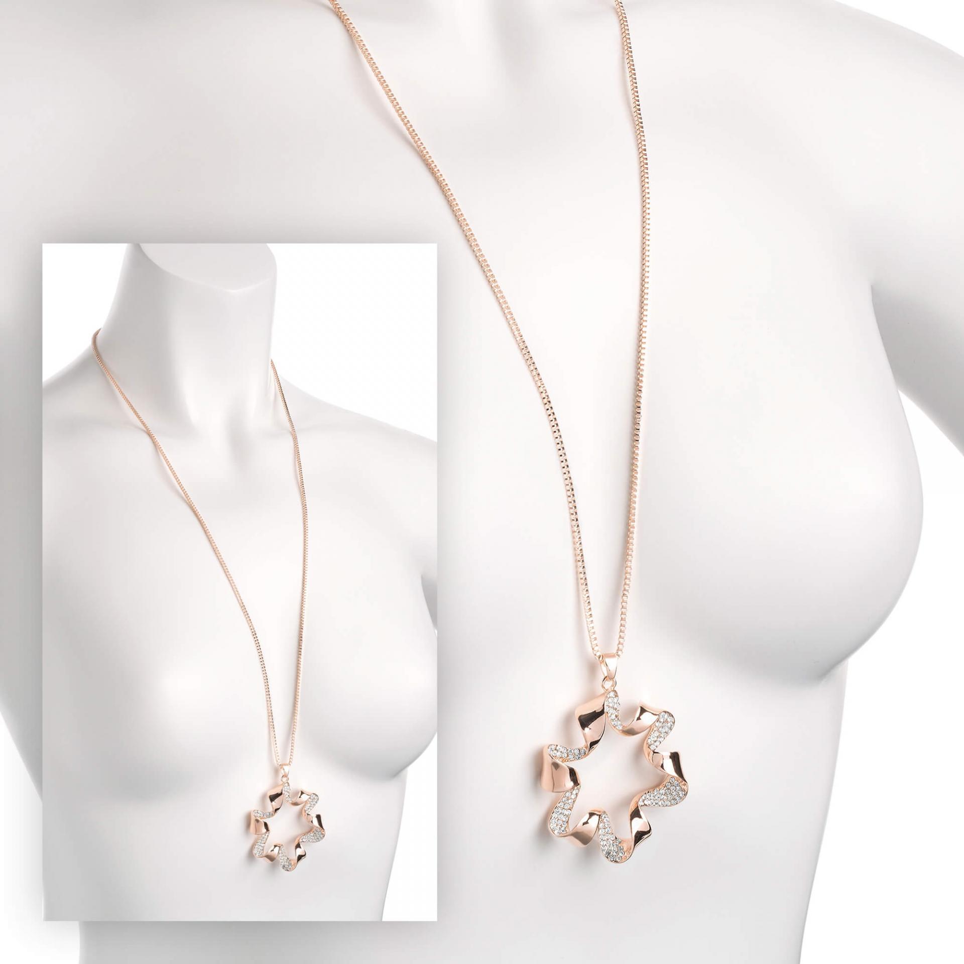 Sautoir chaine pendentif or rose fleur image 2019