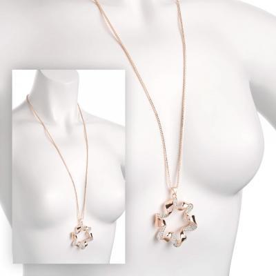 Sautoir chaîne en or rose avec pendentif fleur
