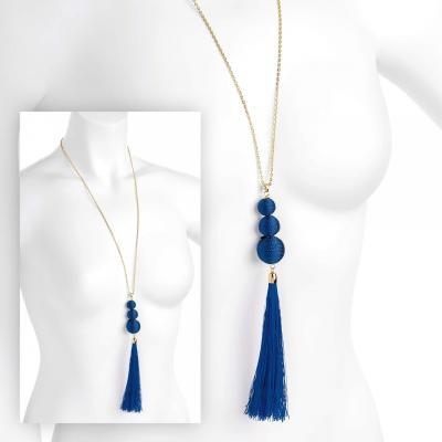 Sautoir femme avec pendentif à franges bleu
