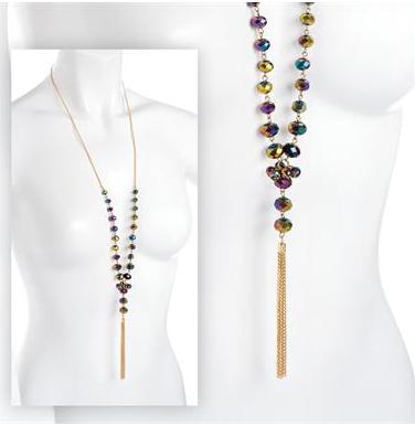 Sautoir femme en perles de verre et or