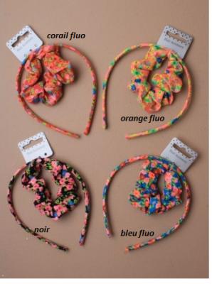Set de serre tête et chouchou fleurs pour fille