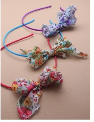 serre tête fin fille avec nœud en tissu
