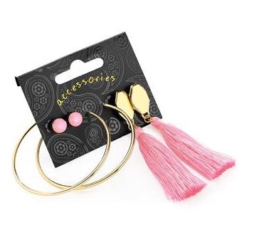 set de boucles d'oreilles rose
