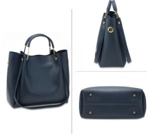 Set de sac avec cabas bandouliere et porte monnaie bleu