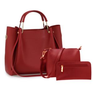 Set de sac cabas femme bordeaux